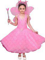 Adiva Indi Girls Maxi/Full Length Festive/Wedding Dress(Pink, Sleeveless)