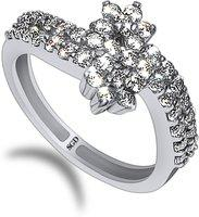 SUDIP G DESIGN Silver Zircon Sterling Silver Plated Ring