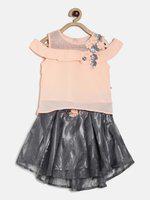 Peppermint Girls Casual Skirt Top(Grey)