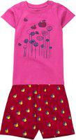 KiddoPanti Girl's Honey Bee Print Top & AOP Shorts Set, Lt Pink, 10-12Y