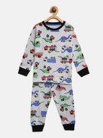 Lazy Shark Kids Nightwear Boys Printed Cotton Blend(Grey Pack of 1)