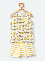 Nino Bambino Boys Yellow & White Printed T-shirt with Shorts