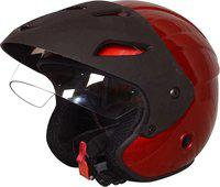 RIDER OPEN FACE TOUCH CAP RED Motorbike Helmet(Red)