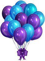 Evofinity Solid Purple & Blue Metallic Balloons Balloon(Purple, Blue, Pack of 25)
