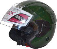 Stick Open Face Solid (ISI Certified) Motorbike Helmet(Dark Green)