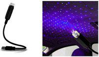 AutoRight Universal Car Interior Atmosphere Lamp Ambient USB Star Light Auto Roof Projector in Purple Color Car Fancy Lights(Black)
