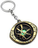 Raj Marvel Avengers Doctor Strange Eye of Agamotto Keychain and Keyring   Key Ring for Car Bike Home Keys   Key Chain for Kids Men Women Boys Girls (Rotating Shield Eye of Agamotto) - Golden Key Chain