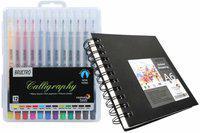 Brustro Calligraphy Pen Set of 12 with Artist Sketch Book