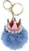 DORRON Crown Pom Pom Faux Fur Key Chain Ring for Girls Bags and Keys (Light Blue) Key Chain