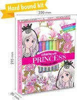 HELLO FRIEND Extra large Princess Colouring Kit (with Colours & Glitter Tubes)