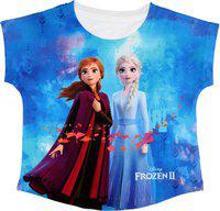 Frozen Girls Casual Polyester Top(Blue, Pack of 1)