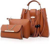 AL Amazing Women Tan Hand-held Bag(Pack of: 3)