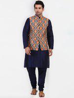 Tag 7 Blue Kurta Pajama With Multicolor Print Jacket