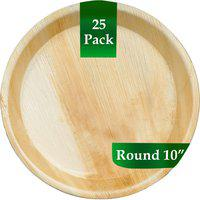 TruSwag Disposable Wooden Plates Round 10