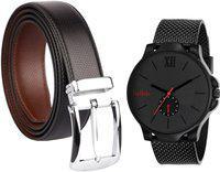Relish Watch & Belt Combo Combo(Black)