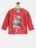 NautiNati Boys Printed Cotton Blend T Shirt(Red, Pack of 1)