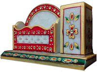 JaipurCrafts Tukins 2 Compartments Marble Pen Stand(Multicolor)