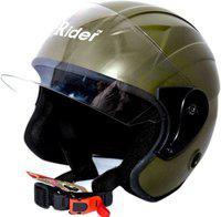 RIDER TOUCH OPEN FACE Motorbike Helmet(M GREEN)