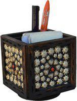 JaipurCrafts Silver Flower 1 Compartments Wood Desk Organizer(Brown)
