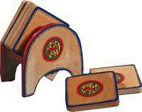 Aapno Rajasthan Square Wood Coaster Set(Pack of 5)