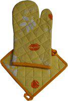 Adt Saral Yellow Cotton Kitchen Linen Set(Pack of 2)