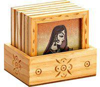 Aapno Rajasthan Square Wood Coaster Set(Pack of 7)