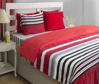 House This Striped Single Dohar(Microfiber, Red)