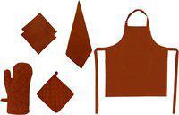 Adt Saral Brown Cotton Kitchen Linen Set(Pack of 6)