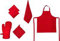 Adt Saral Red Cotton Kitchen Linen Set(Pack of 6)