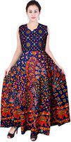 Frionkandy Sanganeri Jaipuri Print Cotton A- Line Multicolor Fit And Flare Dress - (shku1006free