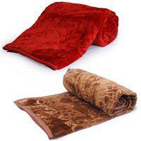 Saksham Abstract Double Mink Blanket(Microfiber, Brown)