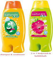 Avon Naturals Kids Shampoo & Conditioner  Wacky Watermelon (200 ml) + 2-in-1 Body Wash & Bubble Bath  Swirling Strawberry (200 ml)(Strawberry, Watermelon)