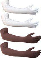 Golddust Cotton Arm Sleeve For Men & Women(L, White, Brown)