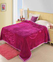 Shopping Store Floral Double Blanket(Microfiber, Pink)