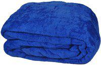 Shopping Store Floral Double Blanket(Microfiber, Blue)