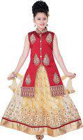 Saarah Girls Lehenga Choli Ethnic Wear Embroidered Lehenga, Choli and Dupatta Set(Red, Pack of 1)