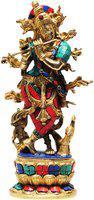 Brass Gift Center Brass Krishna Statue Turquoise Stone Finish Showpiece  -  30 cm(Brass, Multicolor)