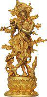 Brass Gift Center Brass Krishna Super Fine Statue Showpiece  -  30 cm(Brass, Gold)