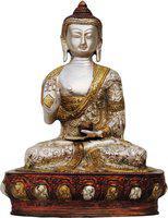 Brass Gift Center Buddha statue with Tri Colour Showpiece  -  25 cm(Brass, Multicolor)