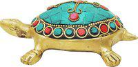 Brass Gift Center Brass Tortoise (kachua) With Turquoise coral Stone work Showpiece  -  4 cm(Brass, Multicolor)