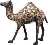 Brass Gift Center Camel with Handwork Showpiece  -  18 cm(Brass, Black, Yellow, Red)