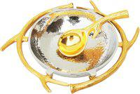 Brass Gift Center Round Hammered Bowl with Spoon Gold and Nickel Finish Aluminium Decorative Platter(Silver, Yellow, Pack of 2)