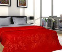 Shivam Concepts Floral Single Mink Blanket(Polyester, Red)