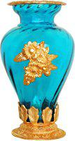 Brass Gift Center Flower Pot Glass Gold Light Blue Aluminium, Glass Vase(10.5 inch, Gold, Blue)