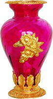 Brass Gift Center Flower Pot Glass Gold Pink Aluminium, Glass Vase(10.5 inch, Gold, Pink)