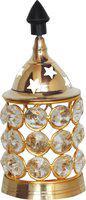 Brass Gift Center Deep jyoti with Crystal beads chimney Brass Table Diya(Height: 4.5 inch)