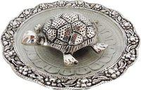 Brass Gift Center Tortoise with glass Plate in Silver antique finish Showpiece  -  3 cm(Aluminium, Silver, Black)