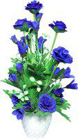 SAF Blue Rose Artificial Flower with Pot(10 inch, Pack of 1)