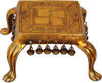 Brass Gift Center Chowki with Brass Antique Brass All Purpose Chowki(Gold)