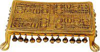 Brass Gift Center Chowki with brass Antique Brass All Purpose Chowki(Yellow, Pack of 1)